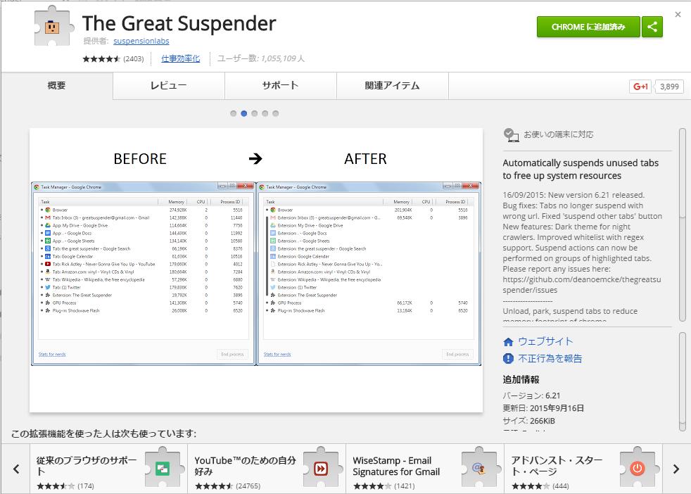 高速化・便利・効率的/長年使ってるおすすめChome拡張機能をご紹介 vol.3 「The Great Suspender」